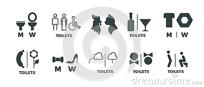 Toilet signs. He she WC door symbols, man and woman bathroom direction signs. Vector funny icons of restroom pictogram Vector Illustration