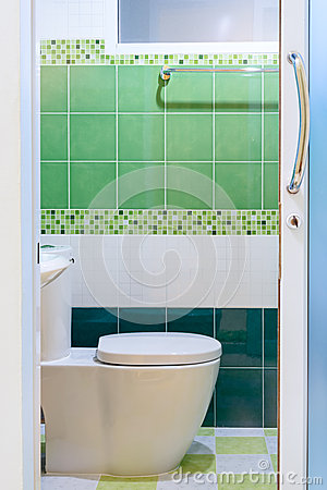 Free Toilet With Green Tile View Stock Images - 44772244