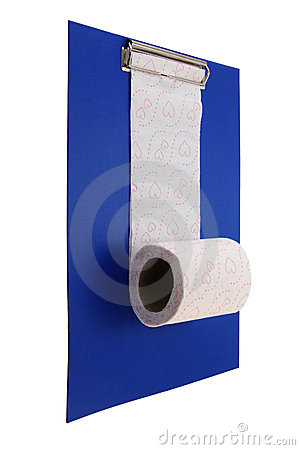 Toiletpaper and clip board.
