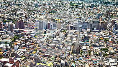 Tokyo, city aerial panoramic view. Street and buildings. Japan, Asia