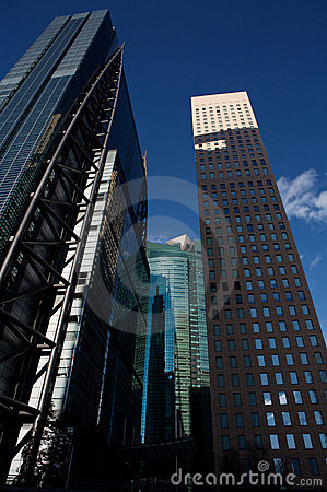 Tokyo city business buildings, perspective