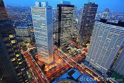 Tokyo city night aerial, Japan