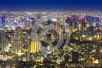 Tokyo cityscape scene night time from sky view of the Roppongi H