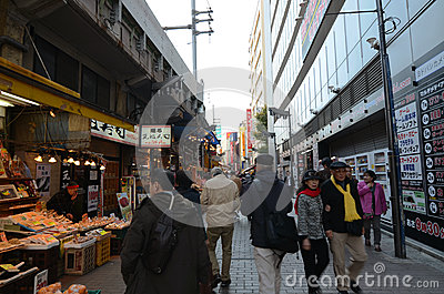 TOKYO, JAPAN - NOVEMBER 22 : Ameyoko market in Ueno District Editorial Stock Photo