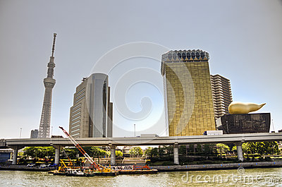 Tokyo Sky tree and Azumabashi Riverside Editorial Photography