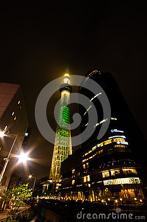 Tokyo Sky Tree at night Editorial Photography