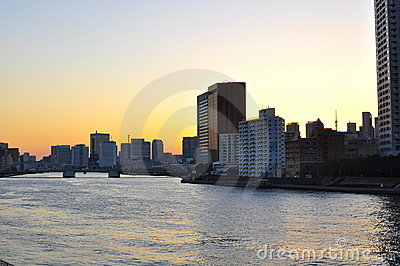 Tokyo at sunset Editorial Stock Image