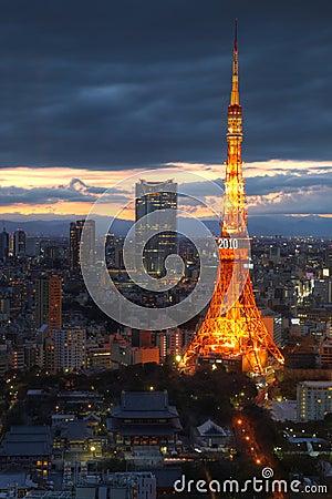 Tokyo Tower aerial, Tokyo, Japan