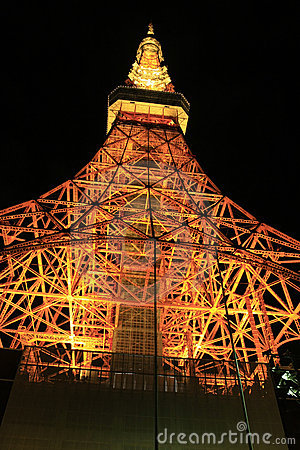 Tokyo tower night scene seen below