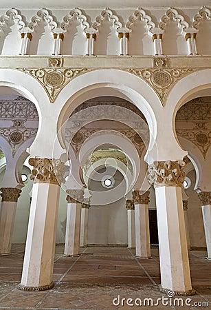 Toledo - Mudejar archs from Synagogue Santa Maria la Blanca.