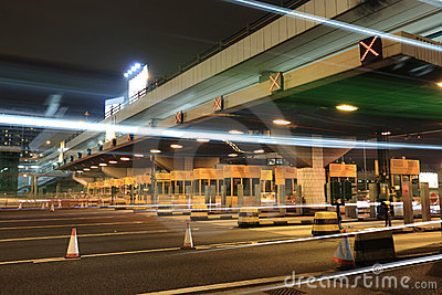Toll booths with car light