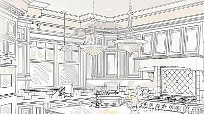 cheap toma panormica de encargo del dibujo de la cocina para revelar diseo acabado metrajes vdeo