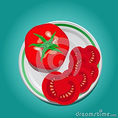 Tomate auf einer Platte mit Scheiben