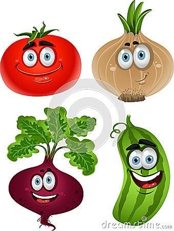 Tomate engraçado dos desenhos animados, beterraba, pepino, cebola