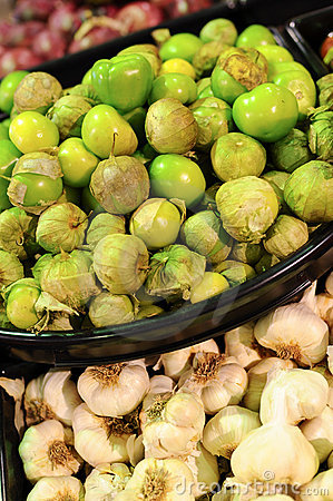 Tomatillos and garlic