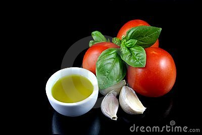 Tomato, basil, garlic, olive oil 1