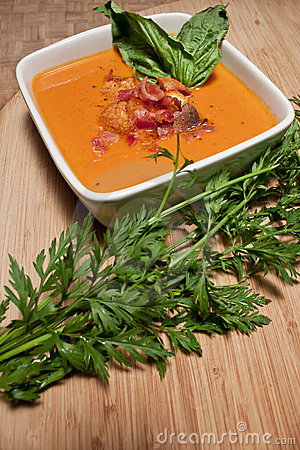 Tomato Carrot Soup with Parsley