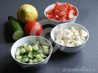 Tomato, Cauliflower, and Cucumber Vegetables in Bo