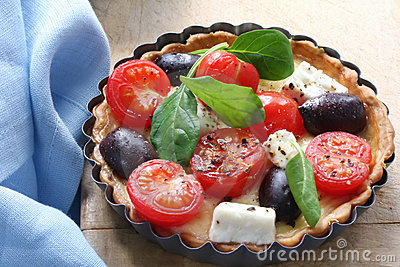 Tomato, Cheese and Olive Tart