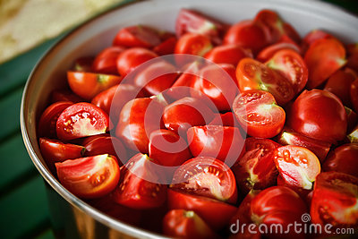 Tomato cooking in the garden