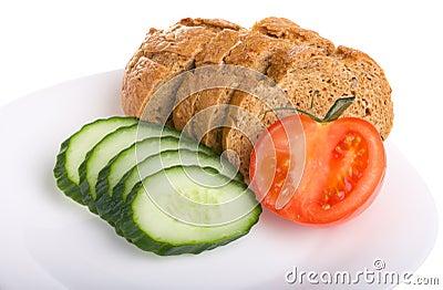 Tomato cucumber and bread
