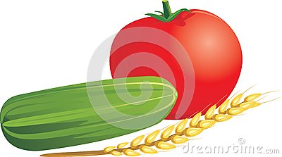 Tomato, cucumber and wheat ear