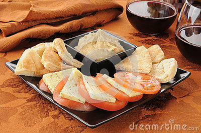 Tomato and dill cheese with hummus