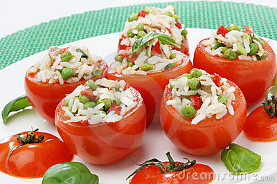 Tomato filled with tuna