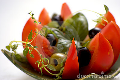 Tomato with fresh herbs
