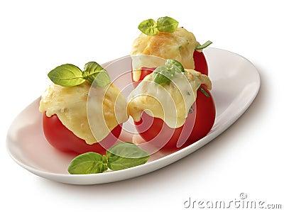 Tomato gratin on a plate