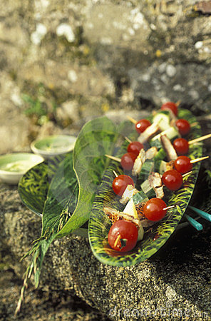 Tomato,haddock and cucumber brochette