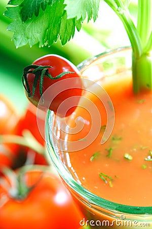 Tomato juice with celery stick