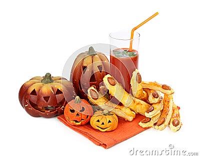 Tomato juice and halloween cakes