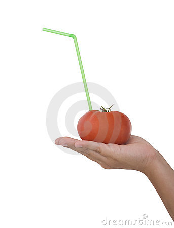 Tomato Juice on the hand