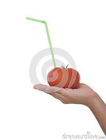 Tomato Juice on the hand