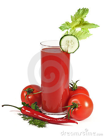 Tomato juice with vegetables isolated