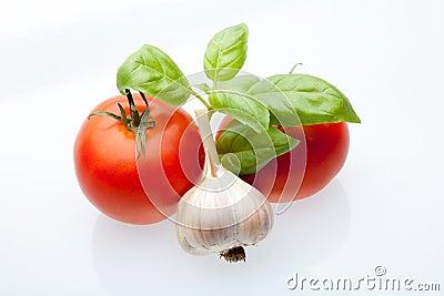 Tomato, mint and garlic