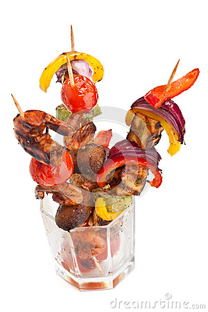 Free Tomato, Mushrooms And King Prawn Kebabs Stock Images - 42619844
