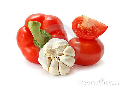 Tomato, pepper and garlic on a white background