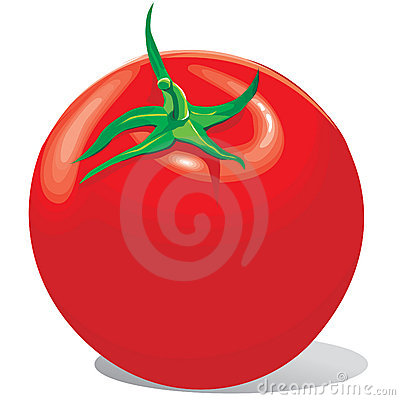 Tomato red with a green tail