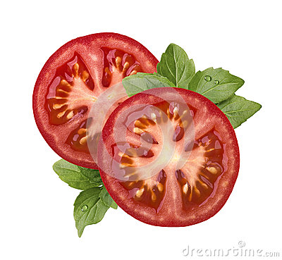 Free Tomato Slice And Basil Isolated On White Background Royalty Free Stock Photography - 54349937