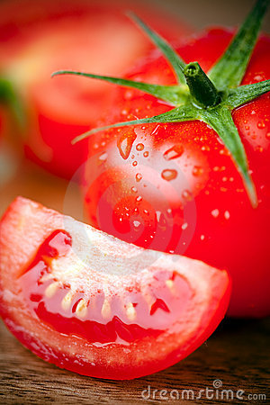 Tomato Sliced Water Drops