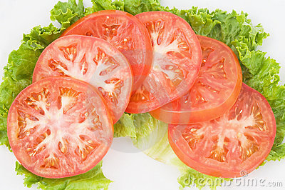 Tomato Slices on Green