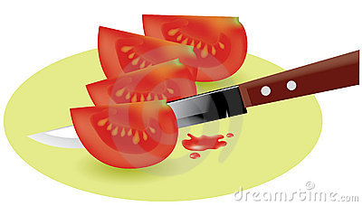 Tomato slices and knife