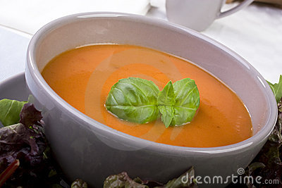 Tomato Soup with Basil Garnish