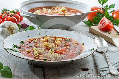 Tomato soup made of fresh vegetables