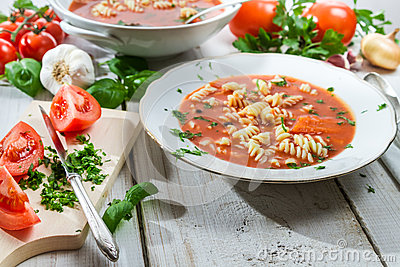 Tomato soup made ​​of fresh vegetables