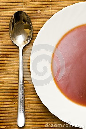 Tomato soup. view from the top