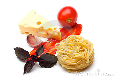 Tomato, tagliateli, cheese, garlic, basil, ketchup
