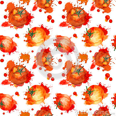 Free Tomato With Splash. Seamless Pattern. Watercolor Royalty Free Stock Image - 72787506